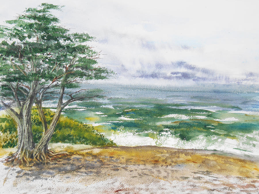 Stormy Morning At Carmel By The Sea California Painting