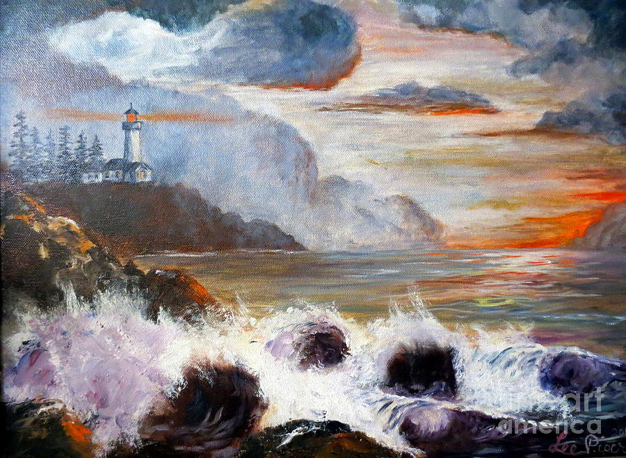 Ocean Painting Painting - Stormy Sunset by Lee Piper
