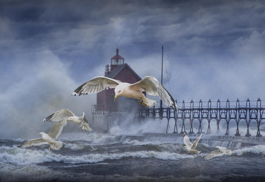 Art Photograph - Stormy Weather At The Grand Haven Lighthouse by Randall Nyhof