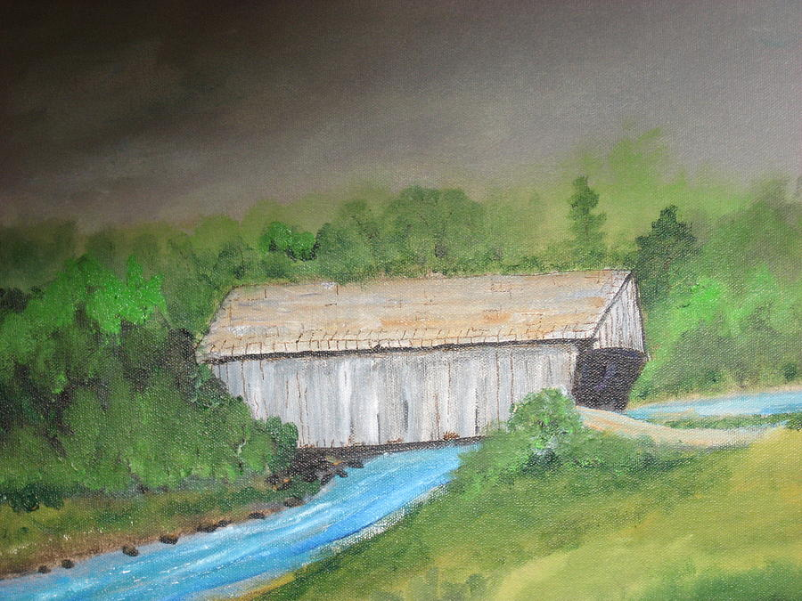 The Old Stovall Covered Bridge Located In Nacoochee  Ga Mixed Media - Stovall Covered Bridge by Robert Reily