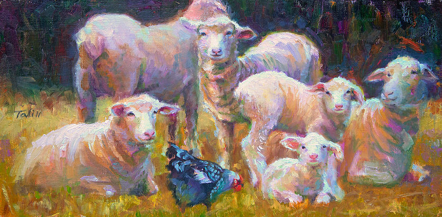 Stranger At The Well - Spring Lambs Sheep And Hen Painting  - Stranger At The Well - Spring Lambs Sheep And Hen Fine Art Print