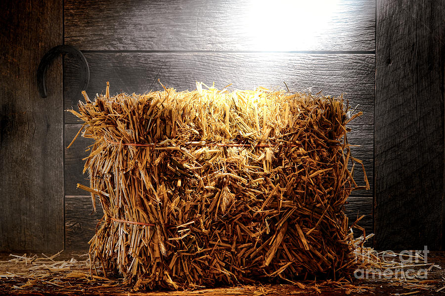 Straw Bale In Old Barn Photograph