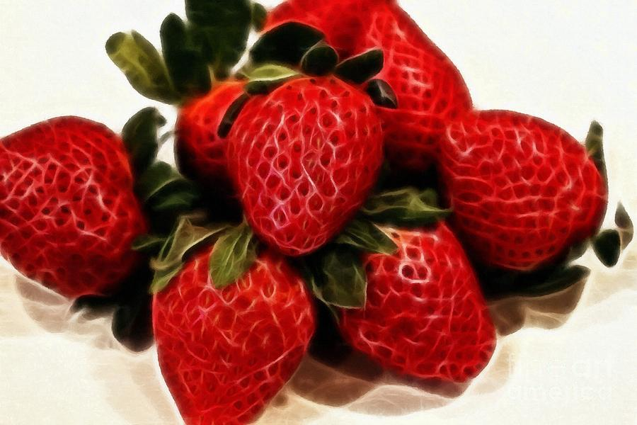 Strawberries Expressive Brushstrokes Photograph