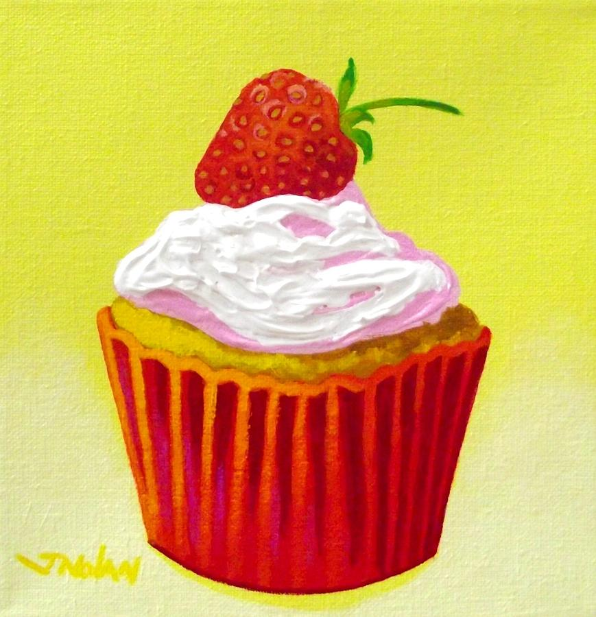 Cupcake Painting - Strawberry Cupcake by John  Nolan