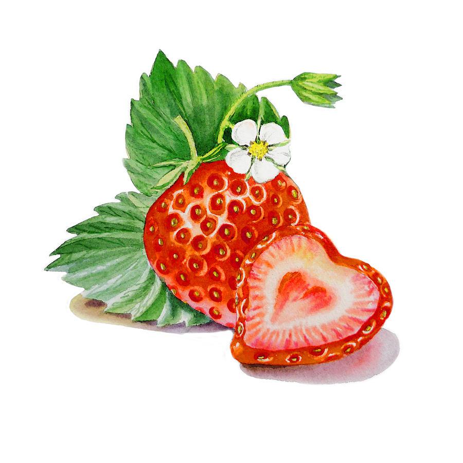 Strawberry Heart Painting By Irina Sztukowski