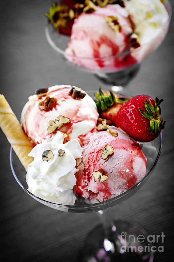 Strawberry Ice Cream Sundae Photograph