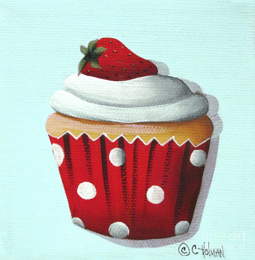 Strawberry Shortcake Cupcake Painting  - Strawberry Shortcake Cupcake Fine Art Print