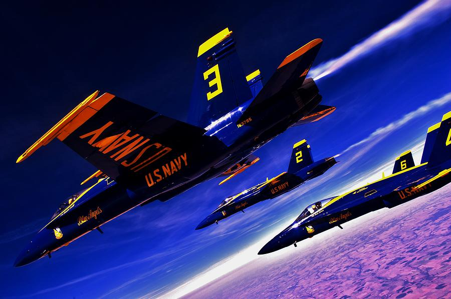 Blue Angels Photograph - Streaking Blues by Benjamin Yeager