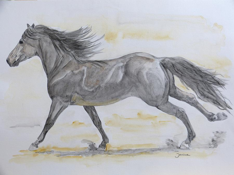 Andalusian Horse Painting - Streching Legs by Janina  Suuronen