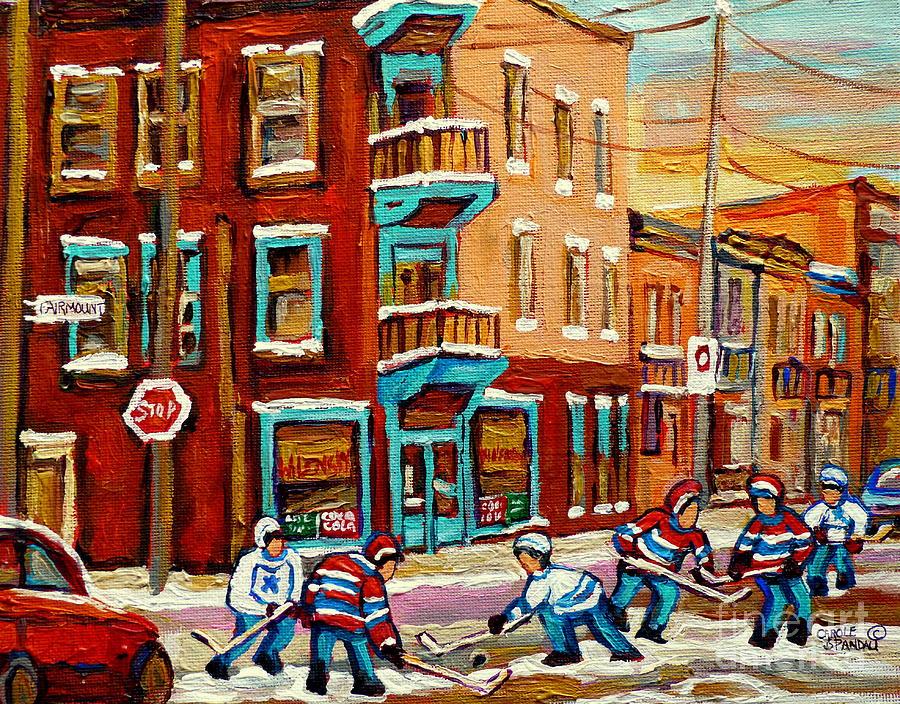 Hockey Painting - Street Hockey Practice Wilenskys Diner Montreal Winter Street Scenes Paintings Carole Spandau by Carole Spandau