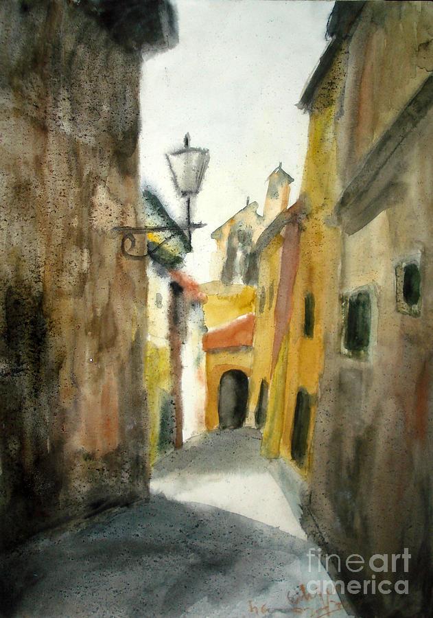 Street In Sienna Painting