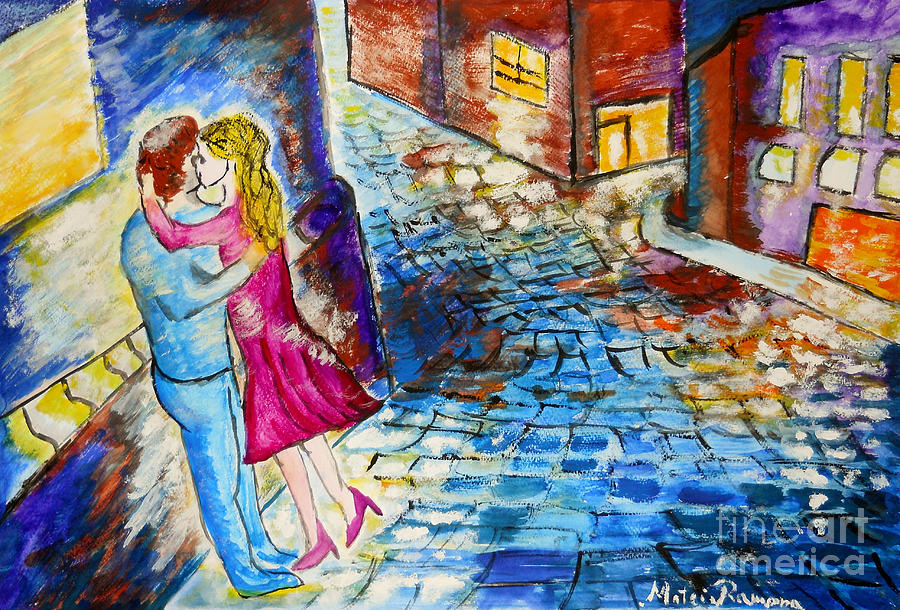 Street Kiss By Night  Painting  - Street Kiss By Night  Fine Art Print
