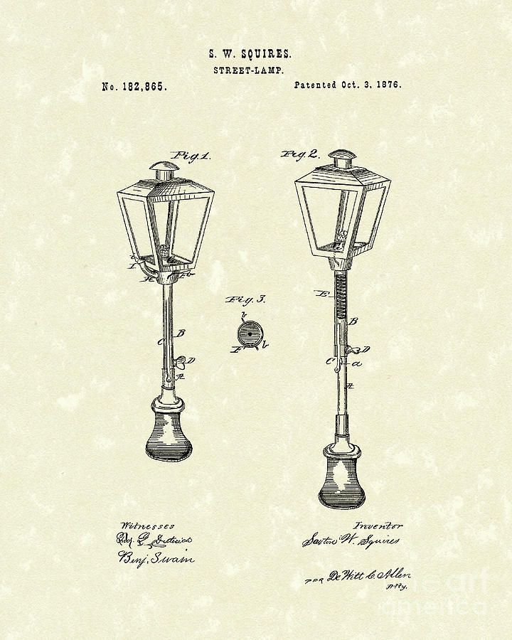 Street Lamp 1876 Patent Art Drawing  - Street Lamp 1876 Patent Art Fine Art Print