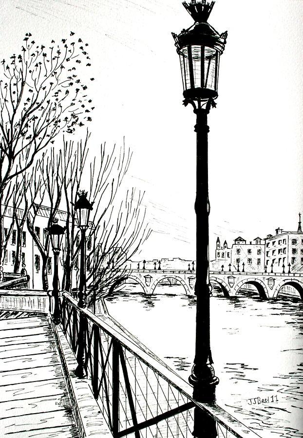 Street Lamp In Paris Drawing Pinterest