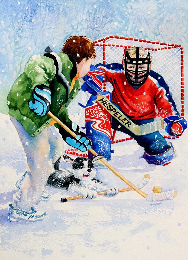 Kids Hockey Painting - Street Legal by Hanne Lore Koehler