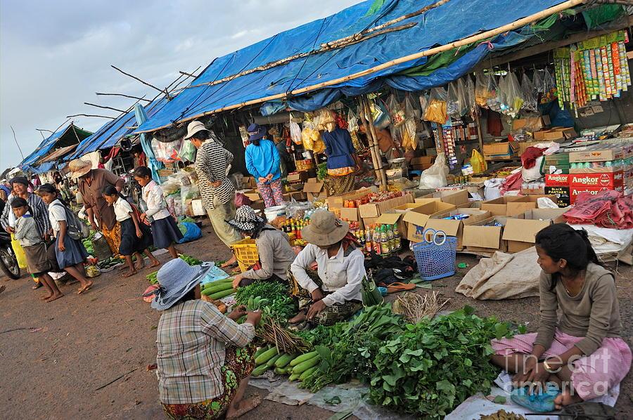Street Market In Siem Reap Photograph