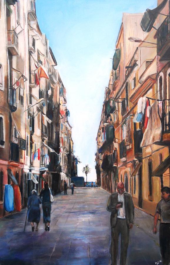 Street Scene Barcelona Painting by Robina Osbourne