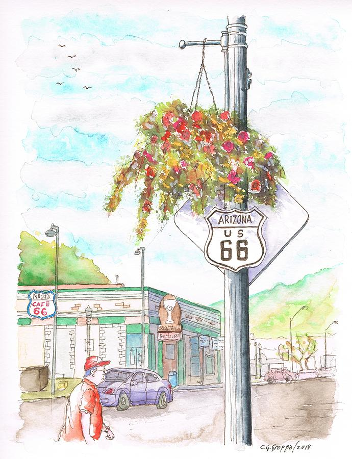 Street Sign In Route 66. Williams, Arizona Painting