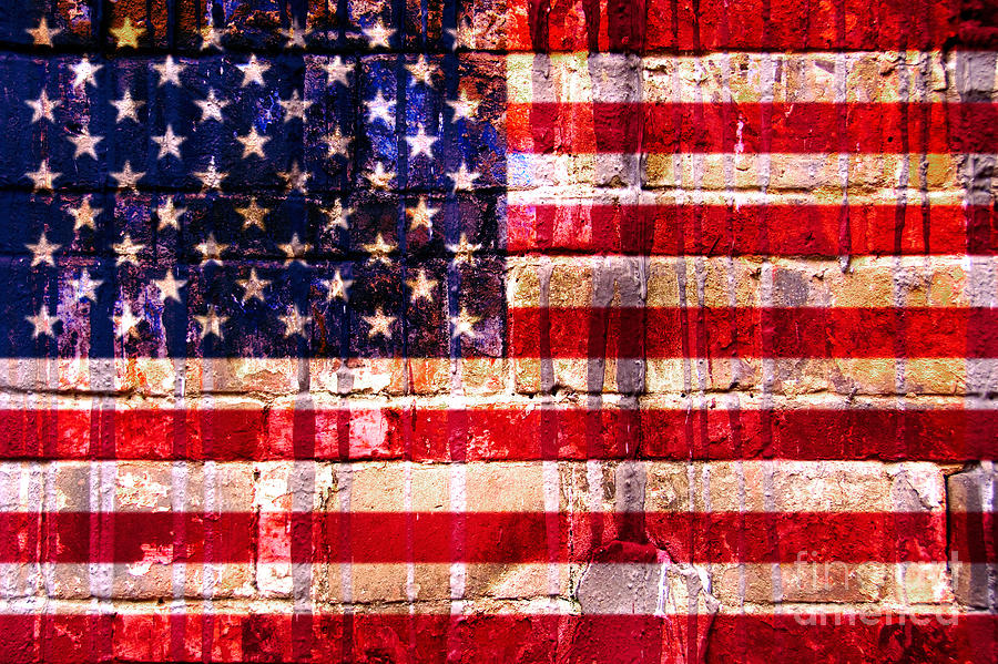 American Flag Digital Art - Street Star Spangled Banner by Delphimages Photo Creations