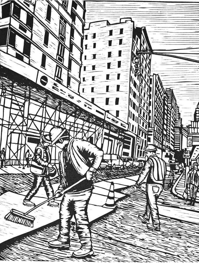 Street Work In New York Drawing