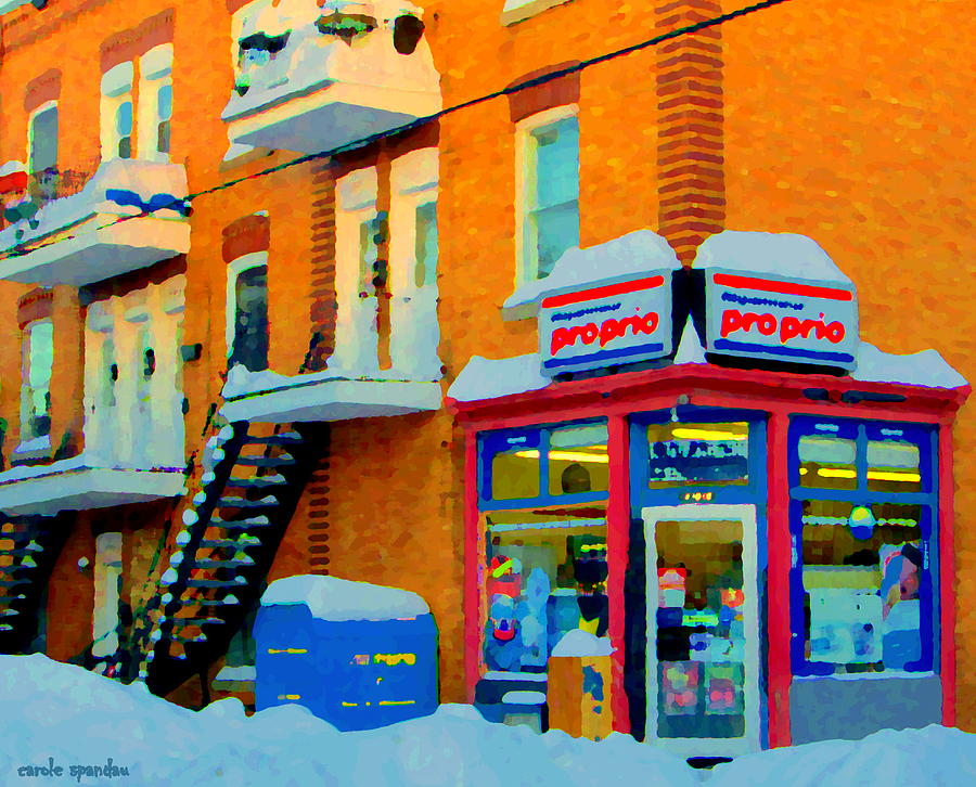 Streets Of Verdun Corner Depanneur Proprio Staircases In Winter Montreal City Scene Carole Spandau Painting