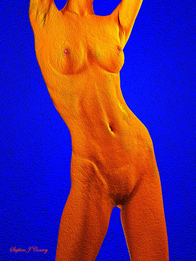 Stretching Nude In Orange And Blue Photograph  - Stretching Nude In Orange And Blue Fine Art Print