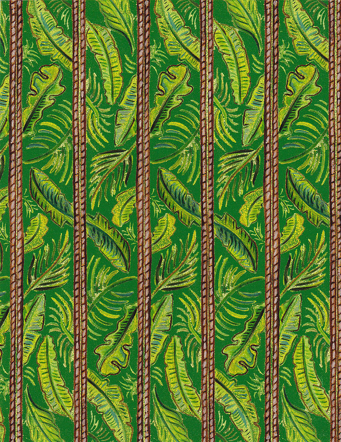 Striped Palms Textile Pattern Painting