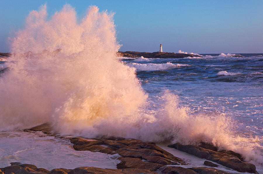 Strong Winds Blow Waves Onto Rocks Photograph  - Strong Winds Blow Waves Onto Rocks Fine Art Print