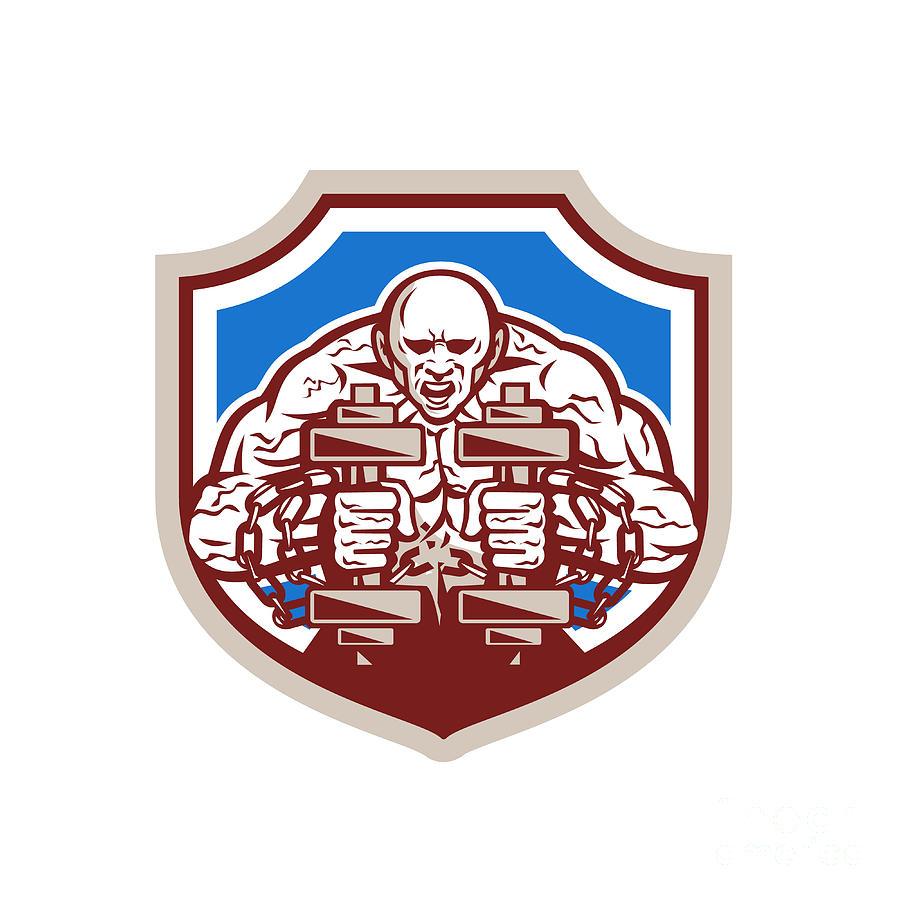 Strongman Lifting Dumbbells Shield Retro Digital Art