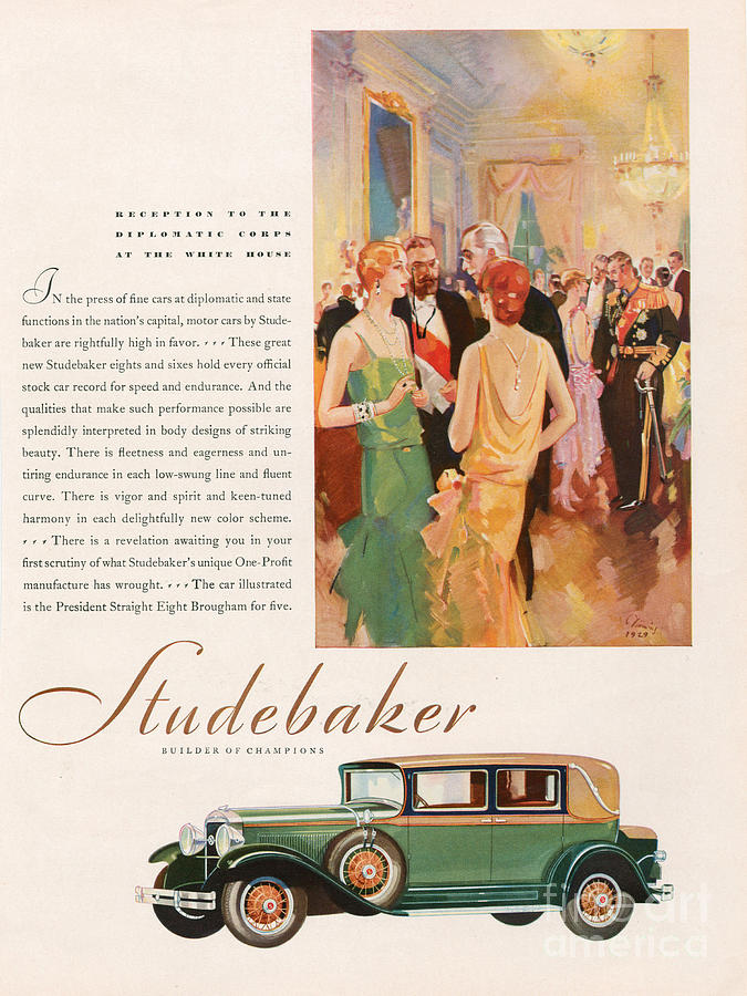 Studebaker 1929 1920s Usa Cc Cars Drawing  - Studebaker 1929 1920s Usa Cc Cars Fine Art Print