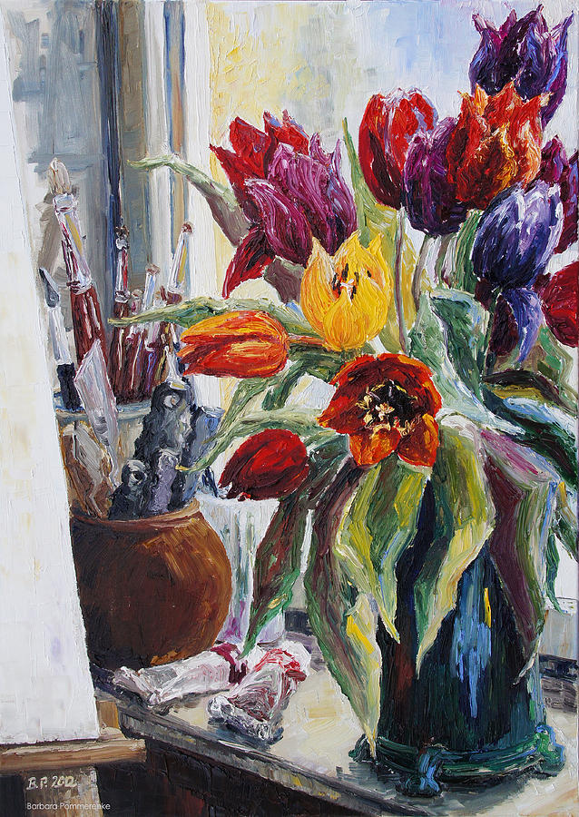 Studio Corner With Tulips Painting