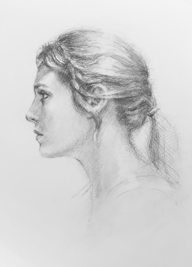 Figurative Drawing - Study In Profile by Sarah Parks