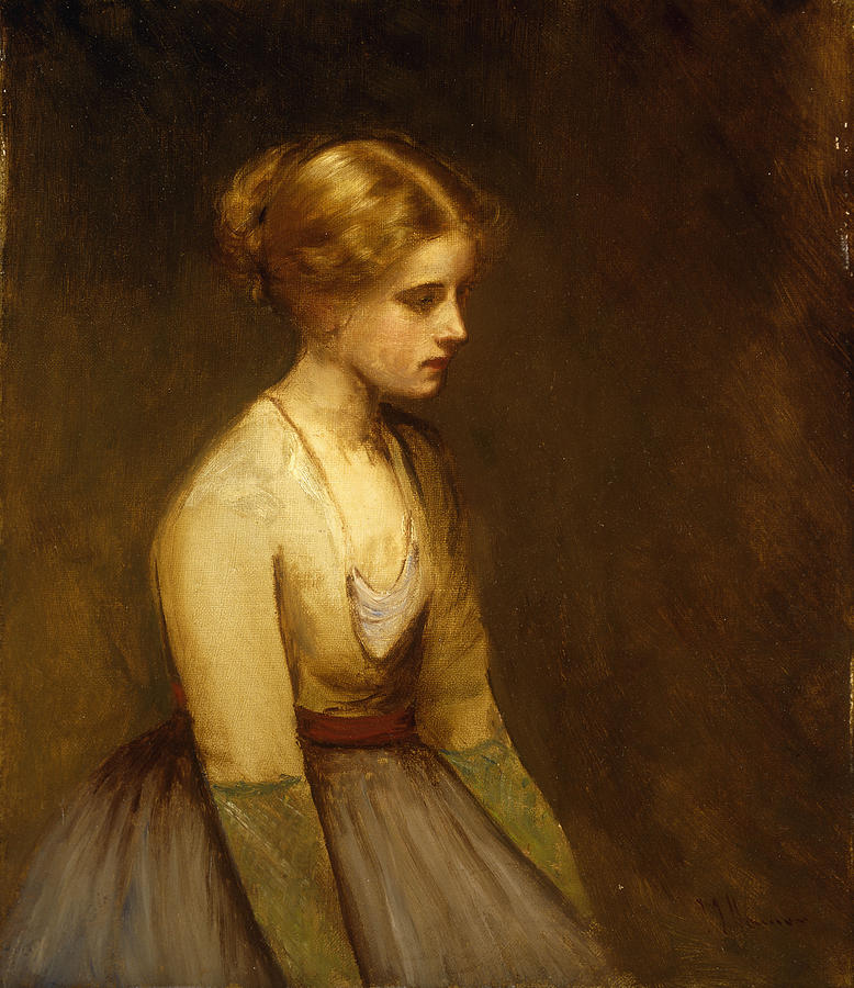 Study; Fair-haired; Beauty; Female; Woman; Girl; Young; Youth; Three-quarter Length; Demure; Modest; Beautiful; Thoughtful; Pensive; Full; Skirt; Brown; Background; Golden; Earthy; Tone; Tones; Shy; Blonde  Painting - Study Of A Fair Haired Beauty  by Jean Jacques Henner