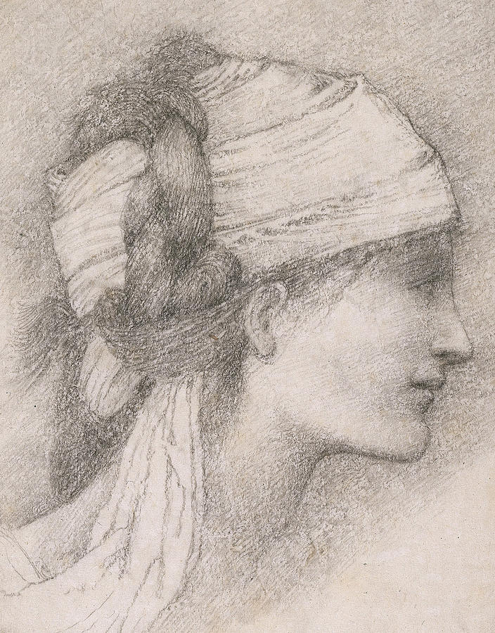 Study Of A Female Head To The Right Drawing