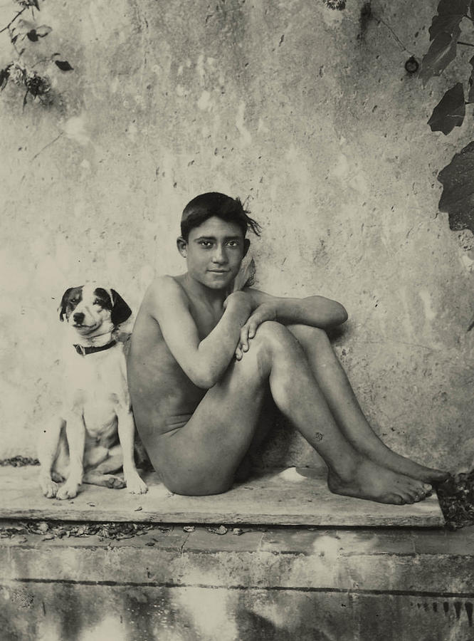 Study Of A Nuade Boy With Dog Photograph