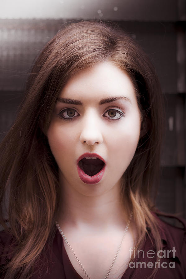 Stunned Shocked Surprised Woman Photograph
