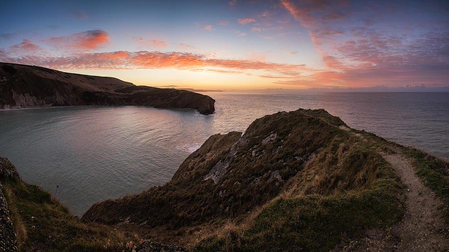 Stunning Sunrise Over Ocean Landscape Photograph
