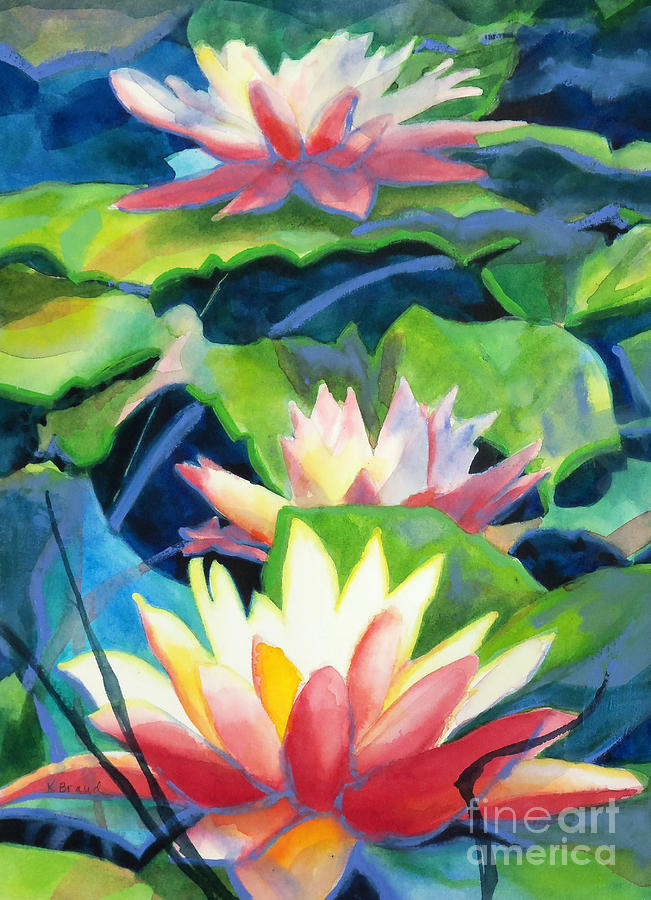 Styalized Lily Pads 3 Painting  - Styalized Lily Pads 3 Fine Art Print