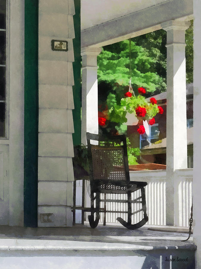 Suburbs - Porch With Rocking Chair And Geraniums Photograph