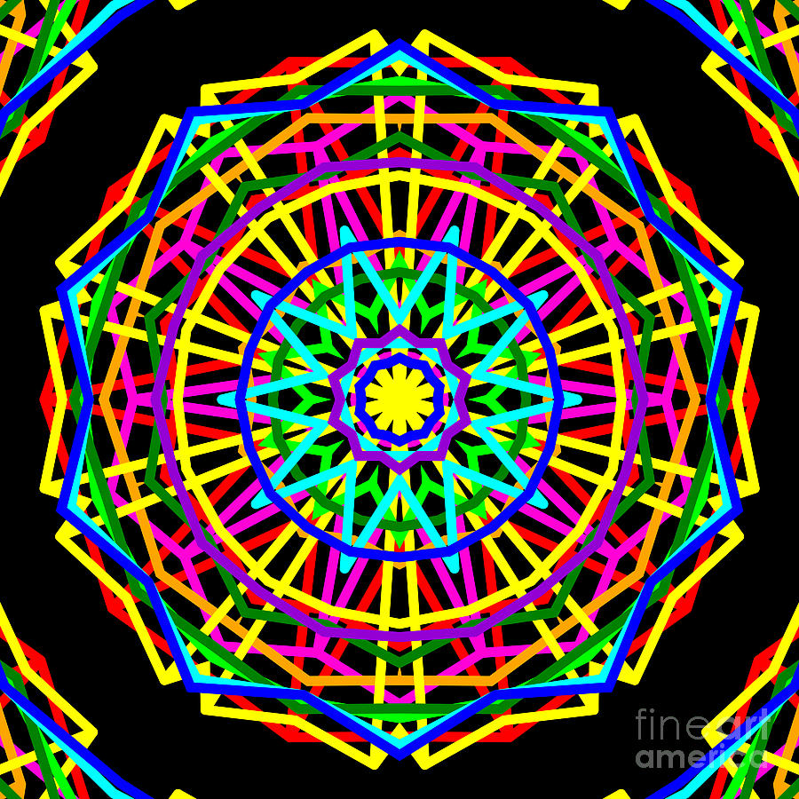 Sudoku Digital Art - Sudoku Connections Kaleidoscope by Ron Brown