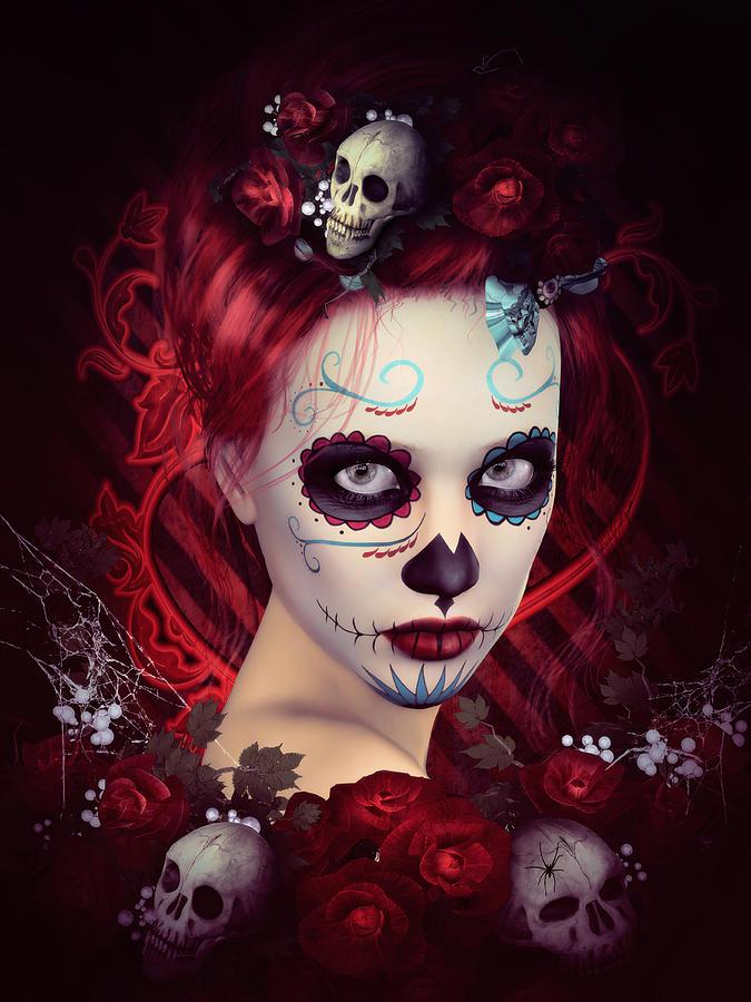 Sugar Doll Red Digital Art