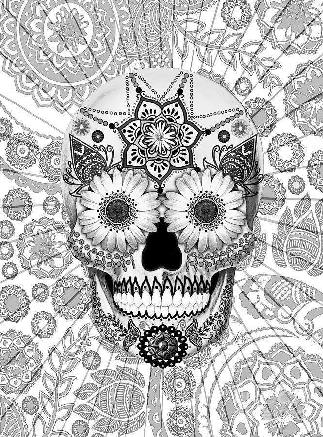 Sugar Skull Mixed Media - Sugar Skull Bleached Bones - Copyrighted by Christopher Beikmann