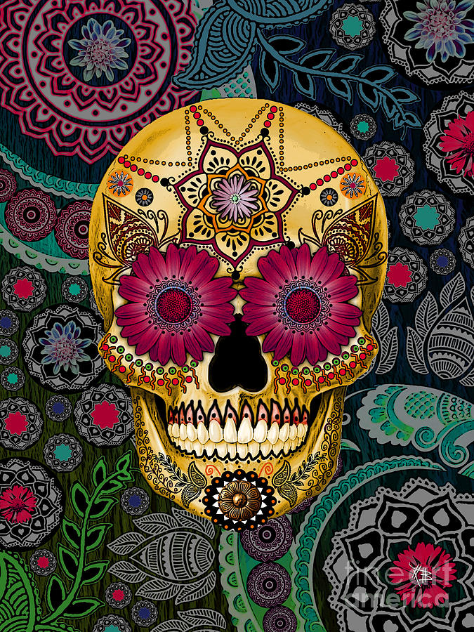 Sugar Skull Paisley Garden - Copyrighted Mixed Media