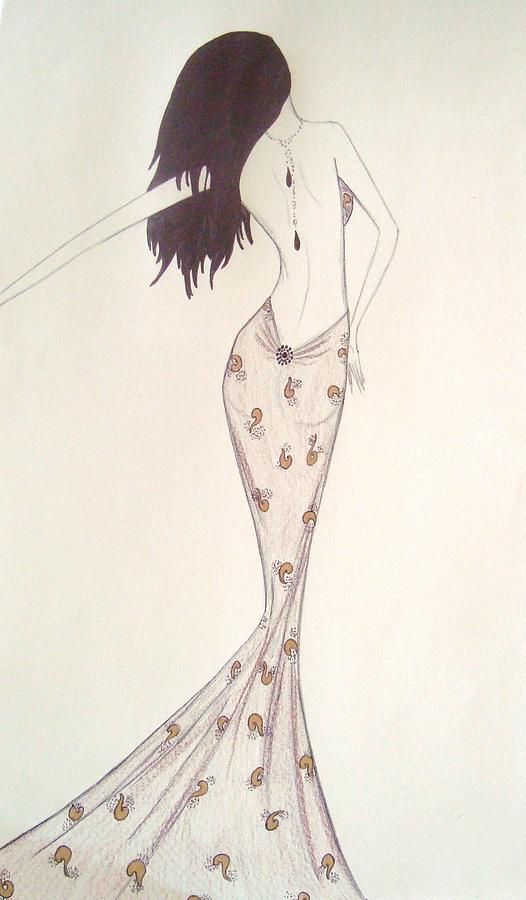 Fashion Illustration Drawing - Sultry Sophisticate  by Christine Corretti