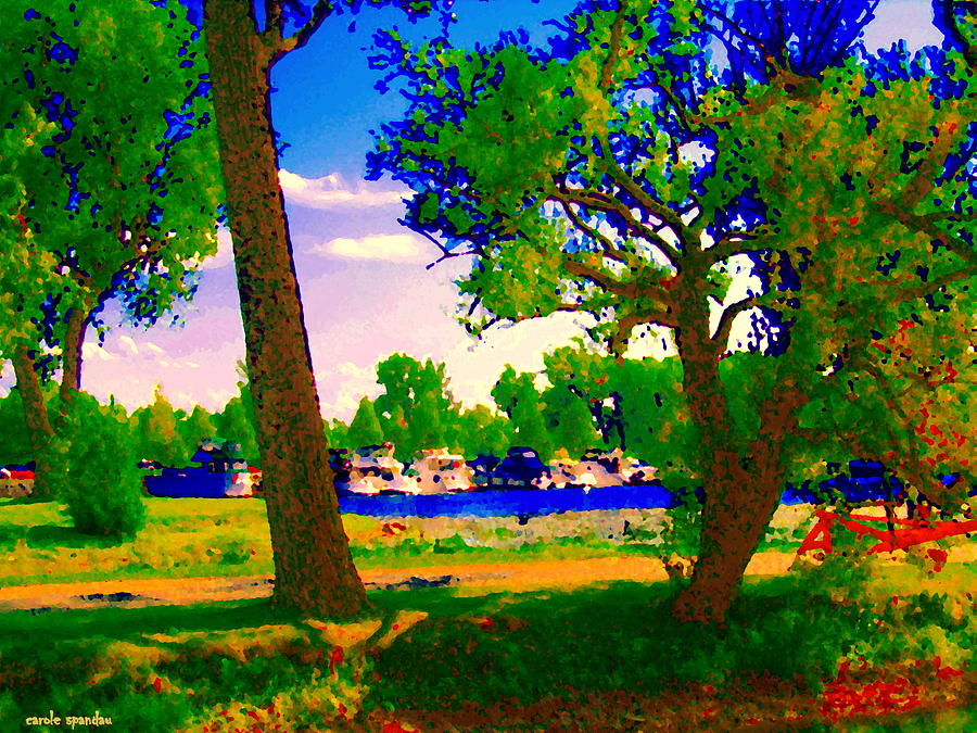Summer Boats Moored Along Tree Lined Lachine Canal Quebec Landscapes  Montreal Art Carole Spandau Painting