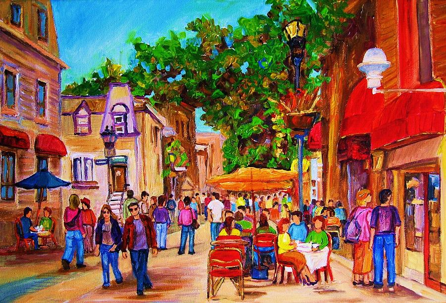 Summer Cafes Montreal Street Scenes Painting - Summer Cafes by Carole Spandau