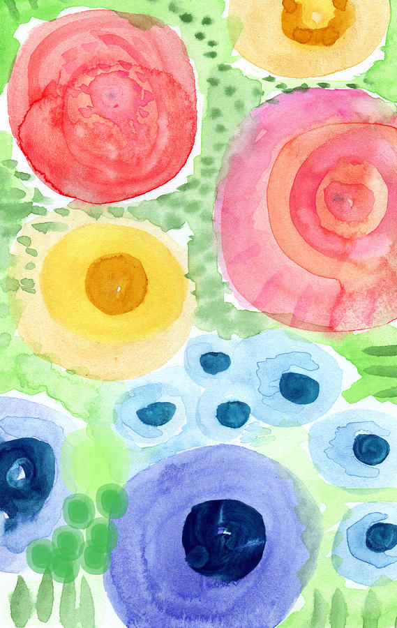 Summer Garden Blooms- Watercolor Painting Painting