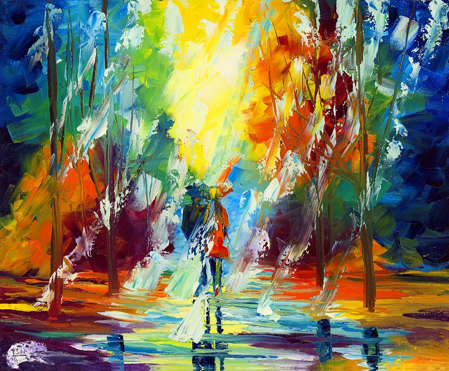 Oil Painting Art Artwork Acrylic Impressionist Impressionism Palette Knife Texture Giclee Print Reproduction Colorful Bright Figures Human Professional Commitment Rain Storm Umbrella Love Couple Passion Married Boyfriend Girlfriend Husband Wife Dating Together Forever Forest Thunder Clouds Trees Path Forest Leaves Fall Autumn Reflection Boy Girl Amor Water Passion Trail Color Colour Colourful Heart Romance Romantic Painting - Summer Rain by Ash Hussein