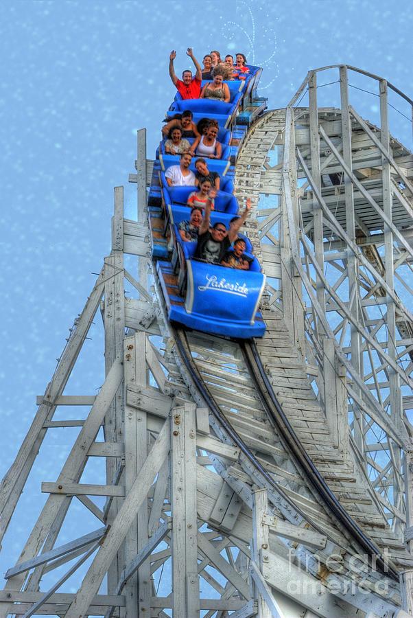 Wooden Roller Coaster Photograph - Summer Time Thriller by Juli Scalzi