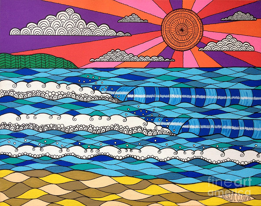 Waves Digital Art - Summer Vibes by Susan Claire